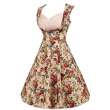 ACEVOG Women's 1950s V Neck Vintage Cut Out Retro Party Cocktail Swing Dresses