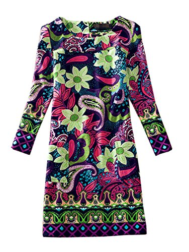 J.cotton Autumn /Winter Floral Print Long Sleeve Boat Neck A-line Midi Casual Dress (XL, J-D-1)