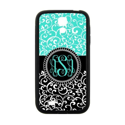 Custom Gift Cyan and Black Retro Pattern Initials Personalized , Best Rubber Snap On Cover Case for Samsung GALAXY S4 mini (Samsung S5 Mini Initial Covers compare prices)