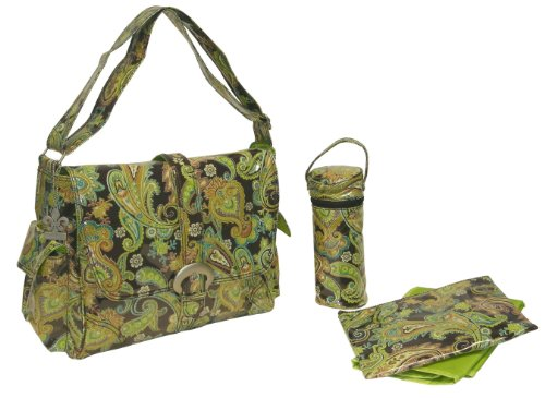 Kalencom Laminated Buckle Bag, Multi Paisley Pistachio
