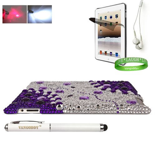 Bedazzled Diamond Purple Cover Hard Case for all models of The New Apple iPad ( 3rd Generation, iPad3, wifi , + AT&T 3G , 16 GB , 32GB , MC707LL/A , MD328LL/A , MC705LL/A , MC706LL/A , MD329LL/A , MD368LL/A , ect.. ) + iPad Compatible White Earbud Earphones + iPad 3 Screen Protector with Anti Glare + Vangoddy Wrist Band + Vangoddy iPad 3 Stylus with Laser Pointer & LED Light (Batteries Included)