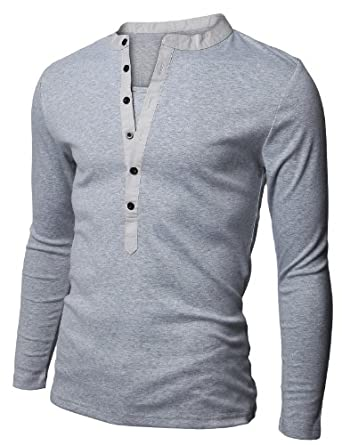 Doublju Mens Soild Henley Tees Long Sleeve GRAY (US-XS)