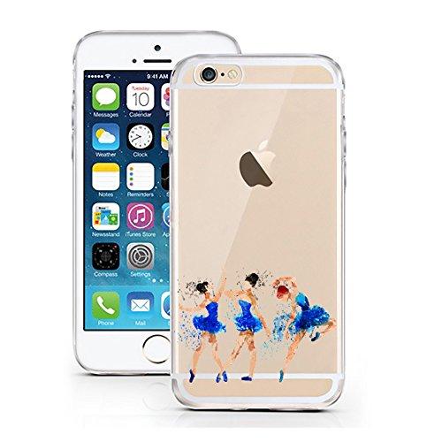 """'licaso® iPhone 66S 4,7TPU cellulare Sketch Case trasparente chiara per cellulare cellulare iPhone6Custodia Girl cover iPhone 6 6S 4,7"""" 3 Ballerina blau"""