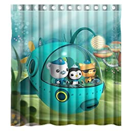 Custom Waterproof Polyester Fabric Octonauts Bathroom Shower Curtain with 12 Hooks 60\