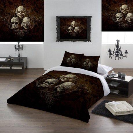 Alchemy Gothic No Evil-Set di copripiumino e federe per letto matrimoniale Super King, 260 x 220 cm