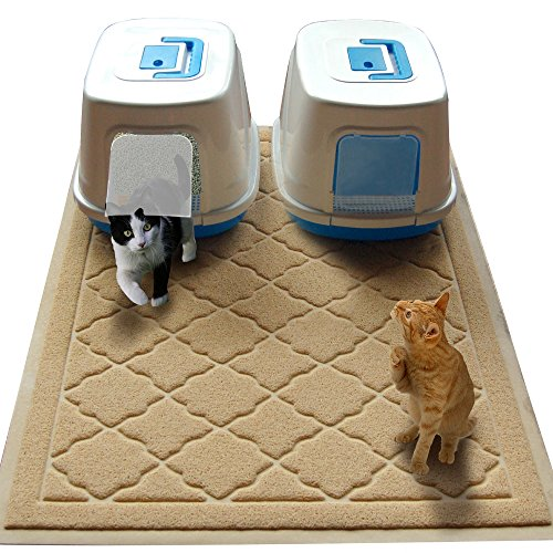 Easyology Jumbo Size Cat Litter Mat – (47 x 36 in) – Best Extra Large Scatter Control Kitty Litter Mats for Cats Tracking Litter Out of Their Box – Soft to Paws- (Patent Pending)