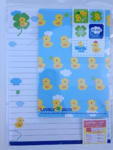 'Lovely Duck' Rubber Ducky Cute Japanese Writing Paper Stationery with Stickers and Envelopes