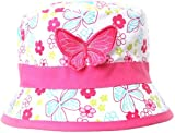 GIRLS PINK BUTTERFLY FLORAL COTTON BUSH BUCKET SUN HAT