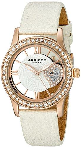Akribos XXIV AK811WTR 34mm Metal Case White Calfskin Synthetic Sapphire Women's Watch