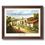 Mexican Casa De Villa Spanish Landscape Home Decor Wall Picture Cherry Framed Art Print
