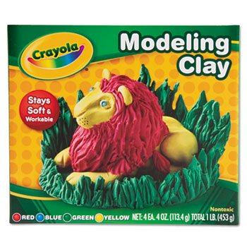 12 Pack Modeling Clay Assortment, 1/4 lb each Blue/Green/Red/Yellow, 1 lb by Crayola. (Catalog Category: Paper, Pens & Desk Supplies / Art & Drafting)