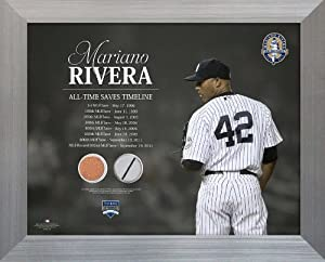 MLB New York Yankees Mariano Rivera All-Time Saves Timeline Jersey and Dirt Collage... by Steiner Sports