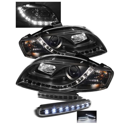 Audi A4 ( Will Not Fit Convertible ) Drl Led Black Projector Headlights