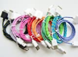 10x Colorful USB DATA 3Ft/1M Fabric Braided Sync Cable Charger Cord for iPhone 4 4s iPod Touch 4
