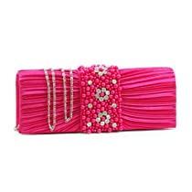 Dasein Pleated Evening Bag Clutch w/ Rhinestone & Pearl Accented Flap -Hot Pink