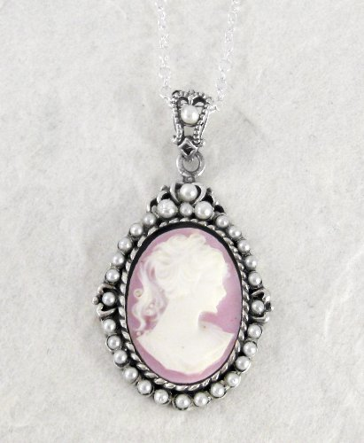 Sterling Silver Lavender Cameo and Pearlized Beads Frame Pendant Necklace, 16-18