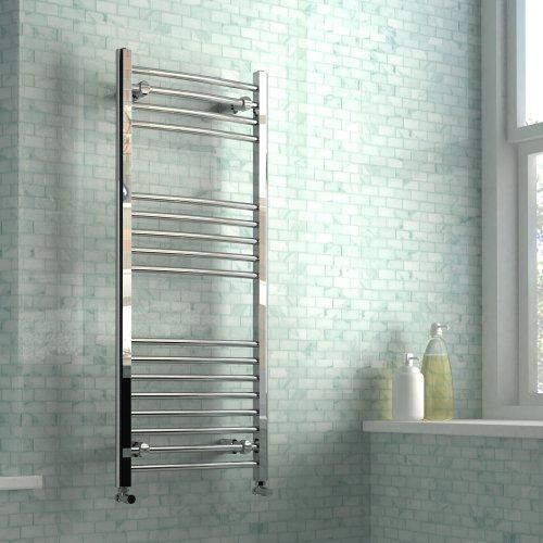 iBathUK  1200 x 500mm Curved Heated Towel Rail Designer Chrome Bathroom Radiator