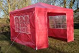 Airwave 3m x 3m Gazebo Party Tent Marquee Awning RED with Side Panels. 120g WATERPROOF Canopy and Powder Coated Steel Frame.