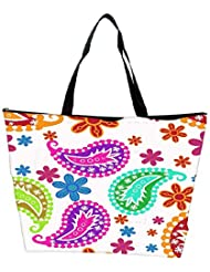 Snoogg Colorful White Pattern Designer Waterproof Bag Made Of High Strength Nylon