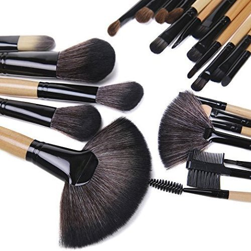 TopSuper 32PCs Professional Makeup Brushes Set Synthetic Kakubi Cosmetic Foundation Blending Blush Eyeliner Face Powder Mac Makeup Brush Kit with Leather Traverl Pouch Bag Case by TopSuper