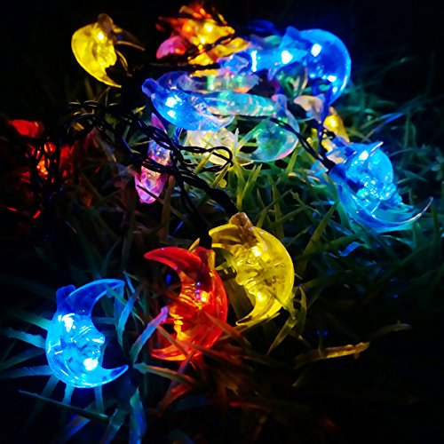 Colored Patio String Lights : LED SopoTek Solar Powered LED Christmas Lights, 6meters 30 LED Moon shaped solar fairy String ...