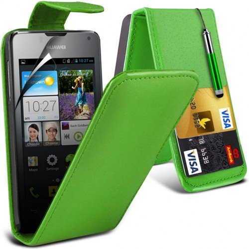 huawei-ascend-y300-leather-flip-case-cover-greenplus-free-gift-screen-protector-and-a-stylus-pen-ord