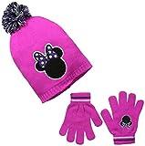 Disney Big Girls' Minnie Slouchy Pompom Beanie with Glove Set