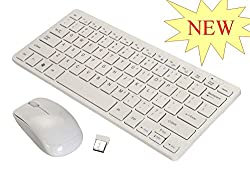 MINI Wireless Keyboard & Mouse 2.4 GHz Set with Silicone Keyboard Cover (White)