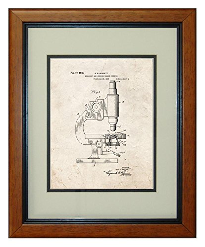 "Microscope And Counting Chamber Patent Art Old Look Print In A Honey Glazed Wood Frame (11"" X 14"")"
