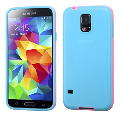 Mybat Two-Color Candy Skin Cover For Samsung Galaxy S5 - Retail Packaging - Blue/Pink front-587291