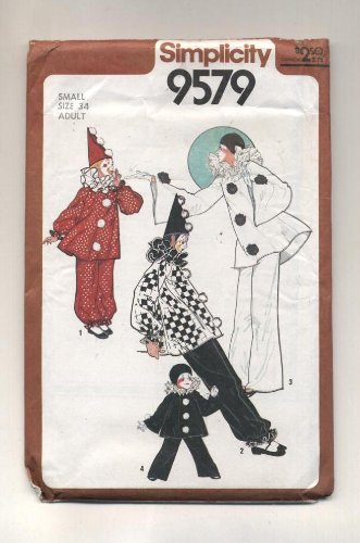 Vintage 1980 Simplicity Harlequin Clown Costume Sewing Pattern #9579 (Clown Costume Patterns)