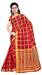 Veer Prabhu Creation Women's Cotton Saree with Blouse Piece (Red)