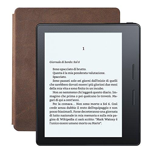 E-reader Kindle Oasis con custodia-caricatore in pelle noce, schermo da 6
