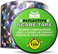 Bird Repellent Scare Tape, Simple Control Device to Keep Away Pigeons, Woodpeckers, Geese and More. Deterrent Ribbon Stops Damage and Deters Pests. Works Great with Netting, Spikes, or a Scarecrow - 125 Ft. (38.1m) Roll