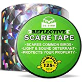 Bird Repellent Scare Tape, Simple Bird Control Device to Keep Birds Away. Stops Damage and Scares Birds. Deterrent Works Great with Netting, Spikes, or a Scarecrow - 125 Ft. (38.1m) Roll