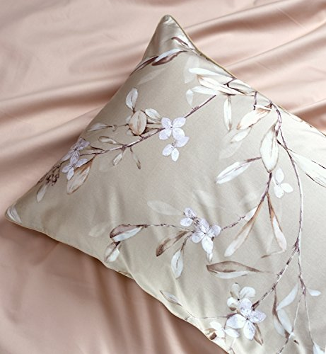 Vintage Botanical Flower Print Bedding 400tc Cotton Sateen Romantic Floral Scarf Duvet Cover 3pc Set Colorful Antique Drawing of Summer Lilies Daisy Blossoms (King, Natural) 4