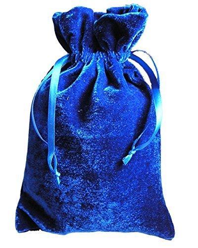 """Tarot/rune Dice Gift Bag Royal Blue Velvet Drawstring Bag 6x9"""""""