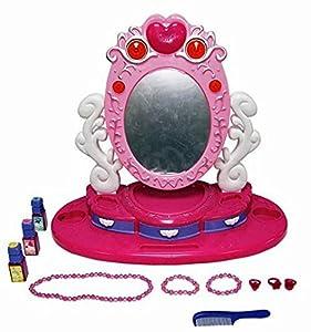 Miroir de maquillage - pour enfant - avec musique et lumière - Centre de beauté - avec Palette de Maquillage - Jeu d'imitation - Couleur: rose
