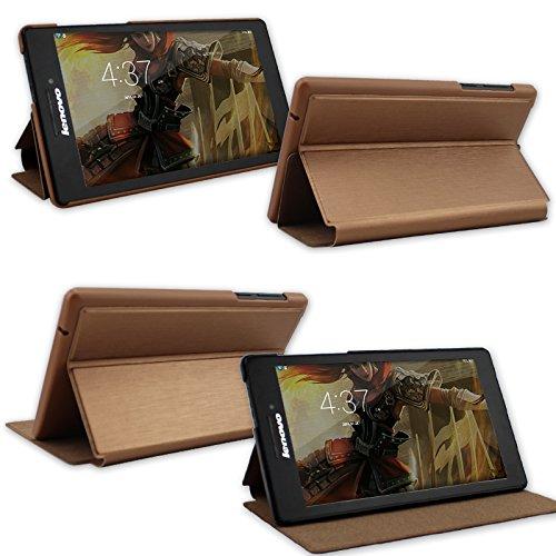 IVSO Lenovo Tab 2 A7-10 Hülle Case Folio Tasche Cover - mit Standfunction Slim Style Leder Folio Schutzhülle NUR geeignet für Lenovo Tab 2 A7-10 17,8 cm (7 Zoll IPS) Tablet (Für Lenovo Tab 2 A7-10, Gold)