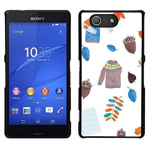 GIFT CHOICE / Dimagriscono Duro Custodia protettiva Caso Cassa Slim Hard Protective Case SmartPhone Cover for Sony Xperia Z3 Compact // Leavers maglione bianco Acorn //