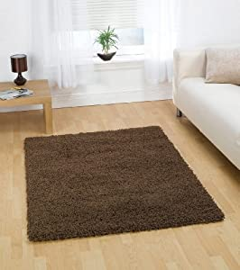"""Large Quality Shaggy Rug in Brown 160 x 230 cm (5'3"""" x 7'7"""") Carpet from Lord of Rugs"""