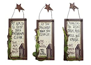 Outhouse Etiquette Bathroom Signs (Set of 3) from Ohio Wholesale, Inc.