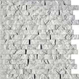 Ledge Stone 3D Wall Panels - Lightweight thermoplastic Decorative 3D Wall Tiles for Easy Glue Up Installation. Crystal White Color. 1 Panel (24