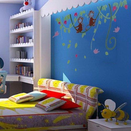 Wall sticker adesivo parete forma vine scimmia casa - Decorazione parete cameretta ...