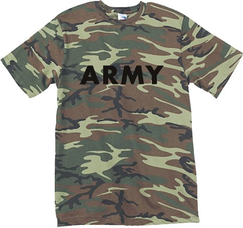 ARMY S/S T-Shirt - Military Style Physical Training T-Shirt in woodland camo