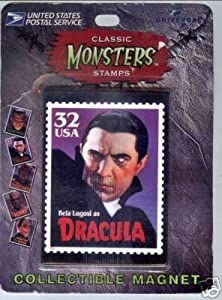 Bela Lugosi as Dracula USPS Collectible Movie Monster Postage Stamp Refrigerator Magnet
