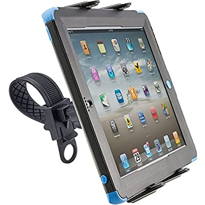 ChargerCity Strap-Lock Tablet Mount for Bicycle, Treadmill, Exercise Bike, Boat Helm, Pole Handlebar with Universal Spring-Loaded Tablet Holder for Apple iPad Mini / Ipad Air / Ipad 2 3 4 5 (All Generation), Samsung Galaxy Tab Note Microsoft Surface Pro L