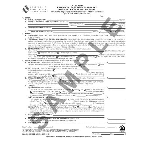 Photo Scanner California Residential Purchase Agreement