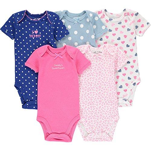 Wan-A-Beez 5 Pack Baby Short-Sleeve Bodysuits (24 Months, Pink Heart )