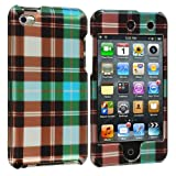 Blue Checkered Design Crystal Hard Skin Case Cover New for Apple Ipod Touch iTouch 4th Generation Gen 4g 4 8gb 32gb 64gb - Electromaster(TM) Brand